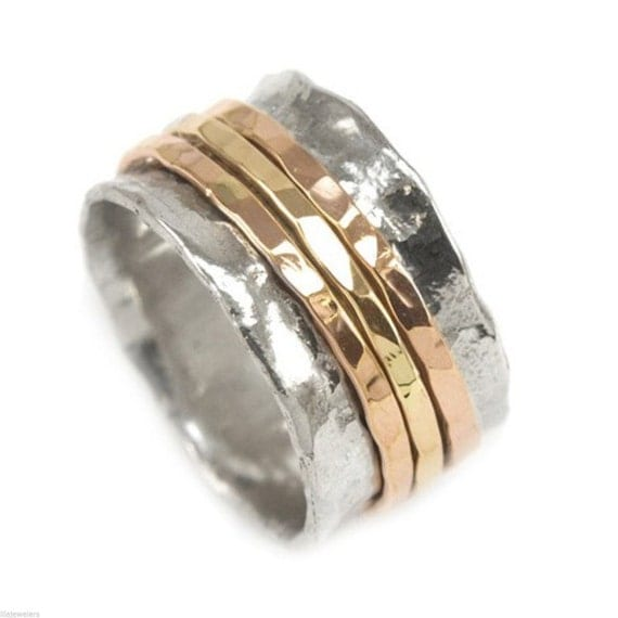 925 sterling silver spinning ring with 3 gold filled bands