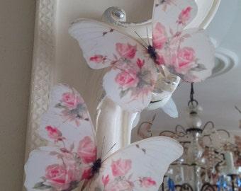 "4 Stunning Shabby Chic Pink Rose 3D Butterflies Butterfly Decals Accessories 5"" each"