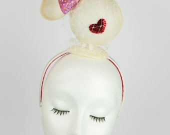 Sindy Bridesmade - flower girl - character face - white sinamay - silk bow - red lips - spot veiling - wedding