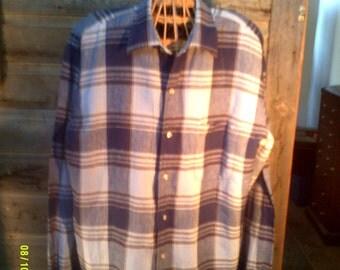 Men's Vintage Plaid Linen Shirt, size Lg 16 1/2, by Lands End, Men's Linen Shirts, Mens Long Sleeve, Mens Shirts Lg, Men's Blue Plaid