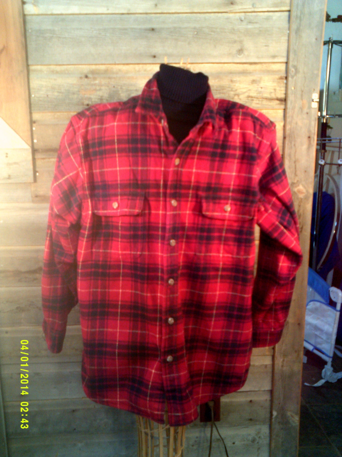 Mens Vintage Heavy Plaid Flannel Shirt Size Med To Lg By