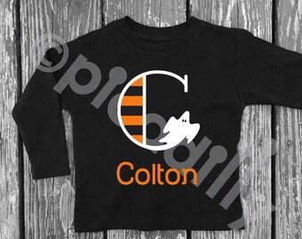 Boys HALLOWEEN Shirt Black Halloween GHOST Shirt w Halloween Monogram Toddler Boy Personalized Halloween Ghost Shirt Boys Ghost Monogram