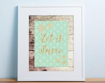 Christmas printable wall decor - Let it Snow - digital file