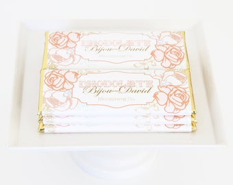 Peach and Blush Vintage Rose Personalized Candy Bar Wrapper. Choice of Gold, Silver, Gold Copper or Copper Foil included.