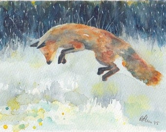 JUMPING FOX mounted watercolour print by Ruth Nolan