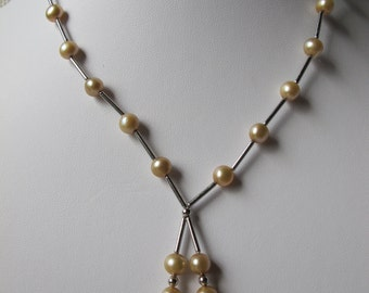 6-7mm Champagne Potato Freshwater Pearl 925 Sterling Silver Necklace A185