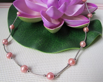 """15"""" 7-8mm Silver Pink Potato Freshwater Pearl 925 Sterling Silver Necklace A77"""