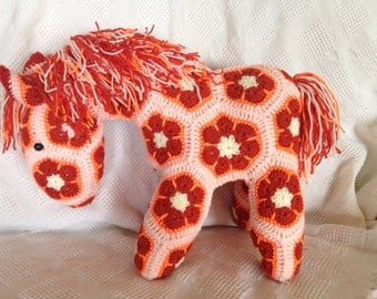 Crocheted Large African Flower Horse - Hand Made