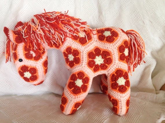 Crocheted Large African Flower Horse Hand Made