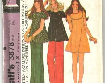 3878 McCalls Sewing Pattern Junior Top or Mini Dress Back Zipper Size 9/10 Vintage 1970s Boho
