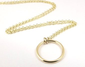 Gold Circle Necklace, Karma Necklace, Solid Gold Necklace, Dainty Necklace, Open Circle Pendant, Modern Eternity