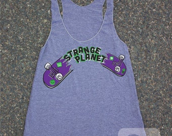 Heather Grey Ladies' Racerback Tank Top Skateboard - USA MADE - American Apparel extra small