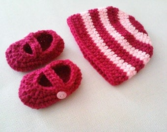 CLEARANCE! RTS 0 to 3 Months Baby Striped Beanie Hat  & Mary Jane Booties - Hot Pink, Magenta, Baby Girl Pink