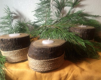 Oak Votive Candle Holders Set of 3