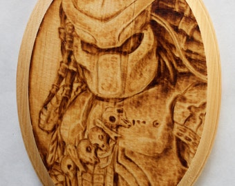 Hand-Made Predator Woodburn on Pine