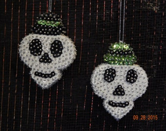SALE:  Skull Twins Sequin Halloween Ornaments