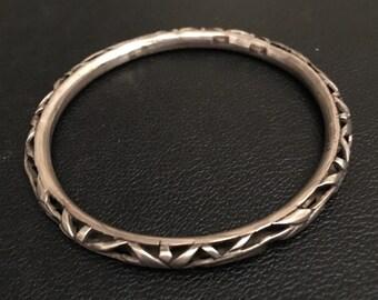 Chinese Silver Bamboo Bangle Bracelet
