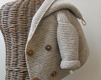Hand knitted Handmade Baby Wool Sweater Coat Hooded Cardigan Hand knit Sweater Size 0-6 months