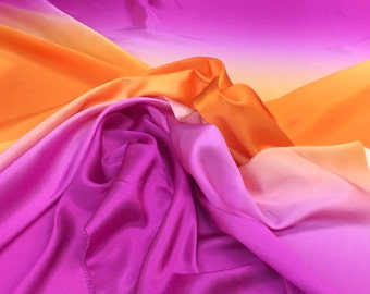 Ombre Charmeuse Color Pink-Orange-Pink