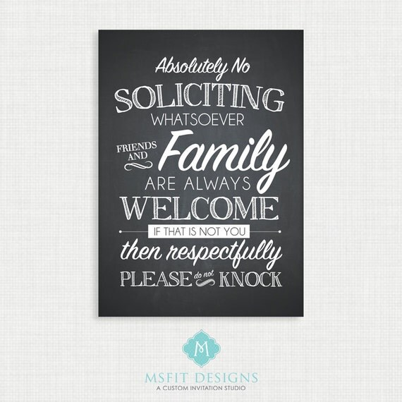 No Soliciting Sign - Door Sign - Soliciting 5x7 and 8x10 Digital File