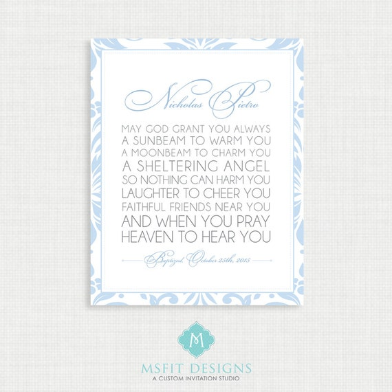Baptism Poem - Prayer Poster - Nursery Art - Digital FIle - Wall Art