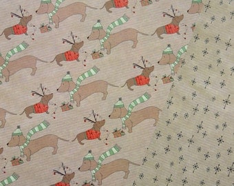 Sausage dog double sided Christmas wrapping paper dachshund design