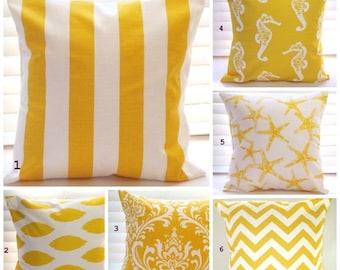 CLEARANCE SALE Pillow Cover, Pillow, Decorative Throw Pillow, Nautical, Beach Decor, Coastal Decor, Decorative Pillow, Yellow Pillows,Fast S