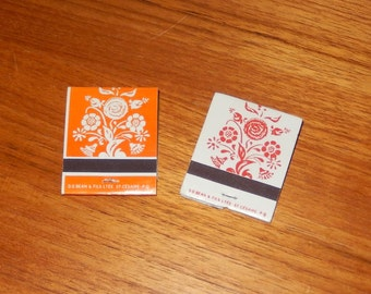 Set of 2 Matching Vintage Matchbooks with Floral Pattern - White on Orange and Red on White