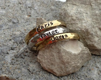 Stackable Name Rings in Gold or Silver stainless steel- Hand Textured- Mother's Ring, Stacking Rings