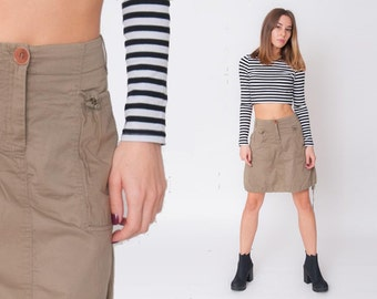 1990's Brown Skirt - Vintage 90s A Lined Balloon Military Cotton Casual Formal Sporty Street High Waisted Tied Up Midi Skirt Size M L
