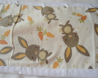 Burp Cloth with brown rabbit with orange carrots on cream back ground