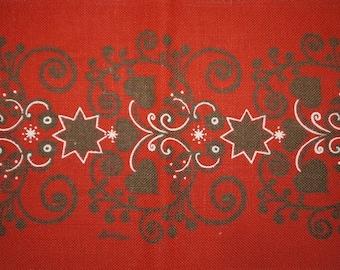 Table runner -70 s - Swedish design - Buhler - Jute - Christmas - Red