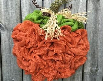 Pumkin Wreath, Halloween Wreath, Fall Decor, Fall Wreath, Autumn Wreath, Front Door Wreath, Burlap Wreath, Halloween Deco