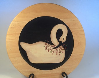 Folk Art Swan Hand Painted on a Wooden Charger Plate, Hand Painted Rustic Charger,  Decorative Charger Plate