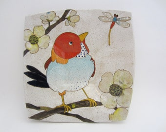 Flowers, Birds & Berries Square Dish