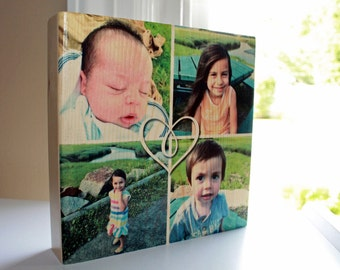PHOTO COLLAGE: Mother's Day Gift, 7x7 Photo Block, Photo Gift, Photo on Wood, Personalized Gift, Pictures, Square Photo Display, Photo Print