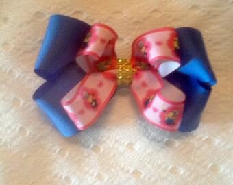 Handmade Royal Blue Minions Hair Bow