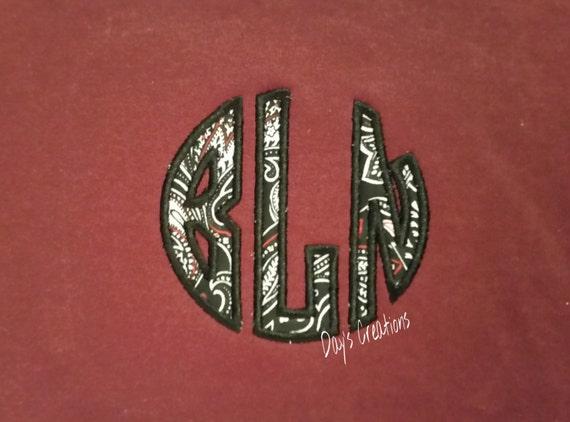 Embroidered Round Monogram Sweatshirt - Appliqued round monogrammed hooded sweatshirt - personalized monogrammed sweatshirt - monogram gift