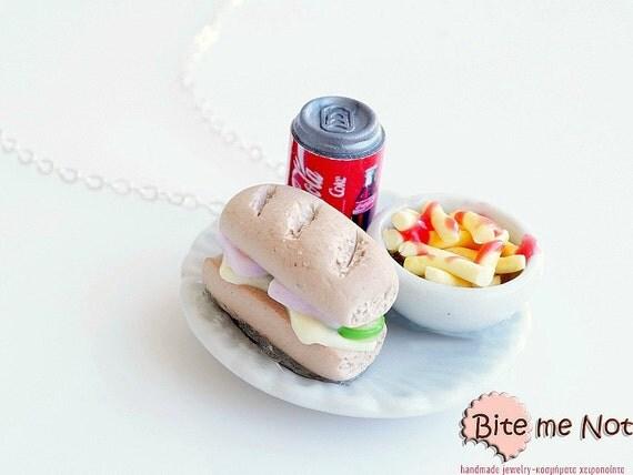 Mini Food Junk Food Plate Necklace, Miniature Food Jewelry, Fast Food Necklace, Sandwich Necklace, French Fries Miniature