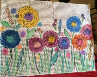 Watercolor Flowers on Recycled Book