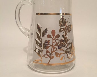 Retro Gold and Floral Pitcher