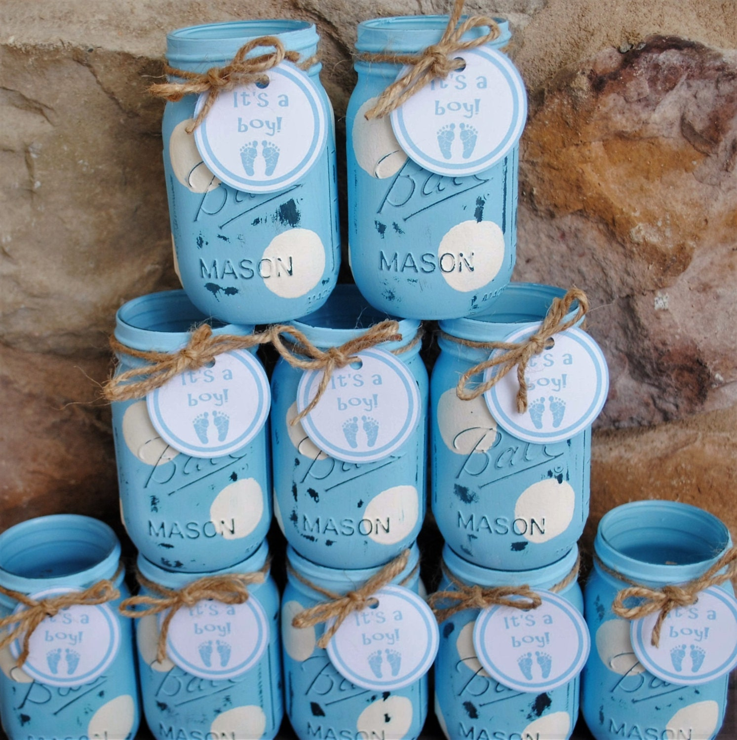 mason jar centerpieces baby shower centerpieces blue and