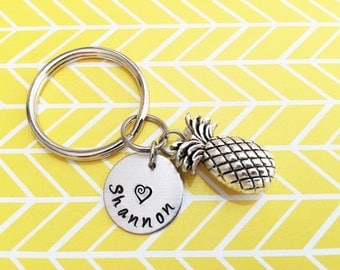 PINEAPPLE KEYCHAIN - name charm shown is optional (see price in drop down box) - pineapple keyring, zipper pull, purse charm, backpack charm
