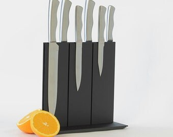 Modern Matt Black Knife Block - Magnetic