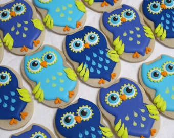 owl cookies decorated sugar cookie favors owl birthday party favors owl theme graduation cookies