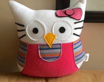 Owl-lo Kitty Owl Plushie- Small Owl Plushie Inspired by Hello Kitty- Pink and Purple Hello Kitty Owl Plush Toy