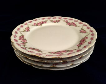 """4 Antique Hand Painted LIMOGES GDA 6"""" Plates - FRANCE"""