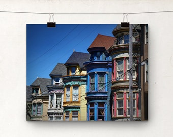 Edwardian Houses, Architectural Photo, San Francisco, Colorful Rainbow