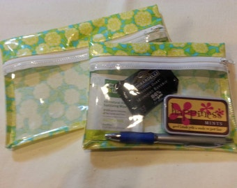 Purse Organizer - Makeup Bag - Zipper Pouch - Bright Floral Print in Yellow, Blue and Green Laminated Cotton with See-thru Front