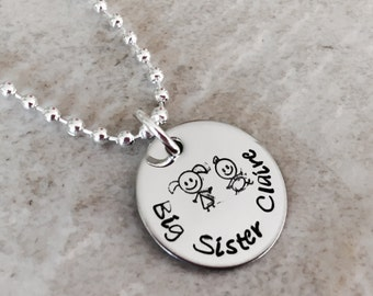 Hand stamped personalized big sister necklace
